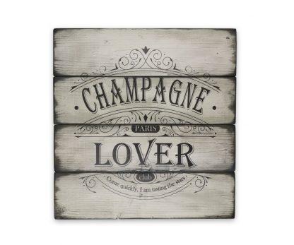 champagne lover club ivory white deszkatabla