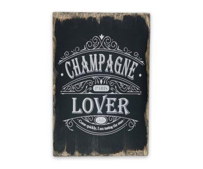 champagne lover club vintage black koptatott fatabla