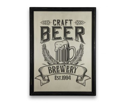 Craft Beer Brewery - Vintage vékony, fekete keretes tábla