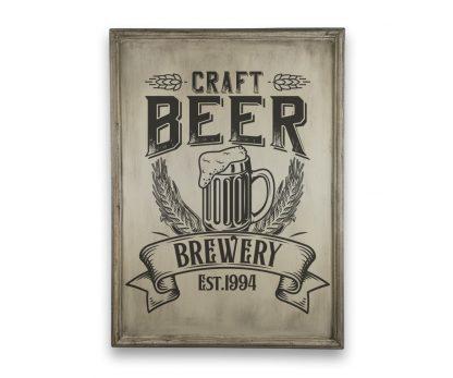 Craft Beer Brewery - Csontfehér, vintage vékony keretes tábla