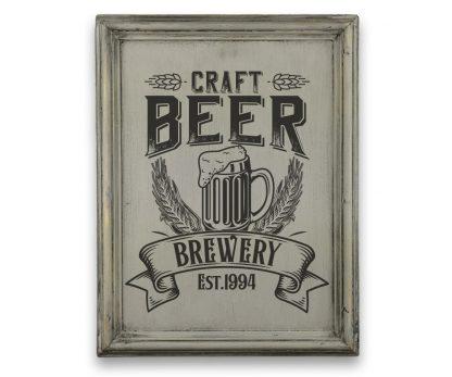 Craft beer - Szürke vintage, vékony keretes tábla