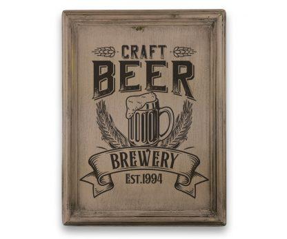 Craft Beer Brewery - Vintage rózsaszín, keretes tábla