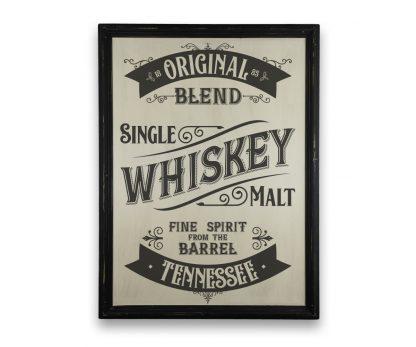 Tennessee Whiskey - Vintage vékony, fekete keretes tábla