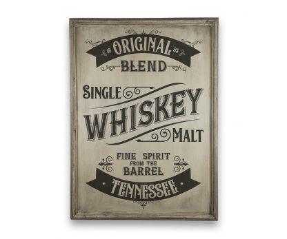 Tennessee Whiskey - Csontfehér, vintage vékony keretes tábla