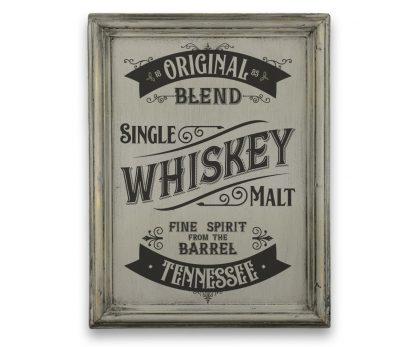 Tennessee Whiskey - Szürke vintage, vékony keretes tábla