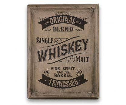 Tennessee Whiskey - Vintage rózsaszín, keretes tábla