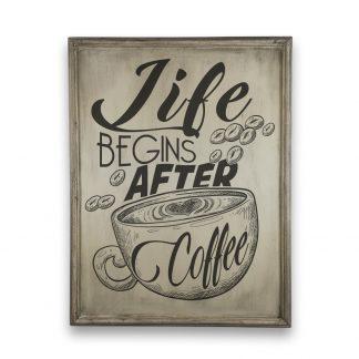 Life begins after coffee - Vintage csontszínű, keretes tábla