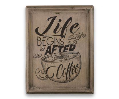 Life begins after coffee - Vintage rózsaszín, keretes tábla