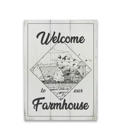 welcome to our farmhouse feher deszkatabla