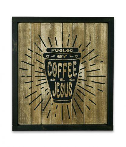 fekete keretes natur deszkatabla fueled by coffee and jesus