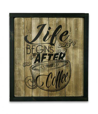 fekete keretes natur deszkatabla life begins after coffee
