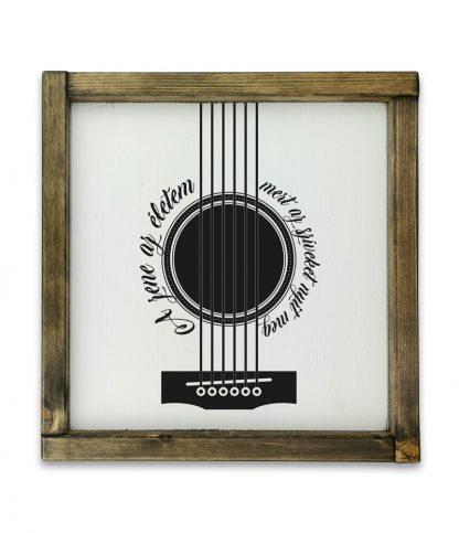 gitar plakat a zene az eletem tolgy keteres fatabla negyzet