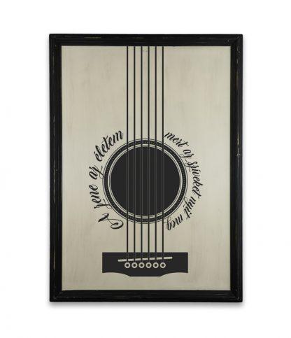gitar plakat a zene az eletem vintage fekete keret
