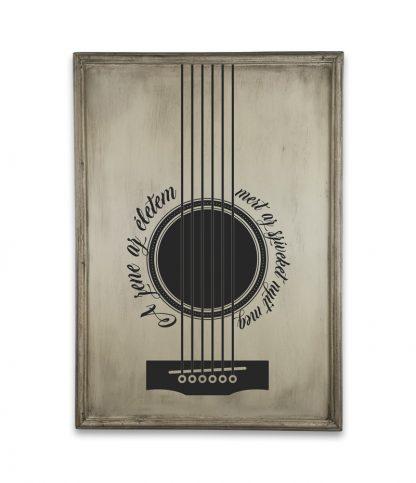 gitar plakat a zene az eletem vintage ivory white