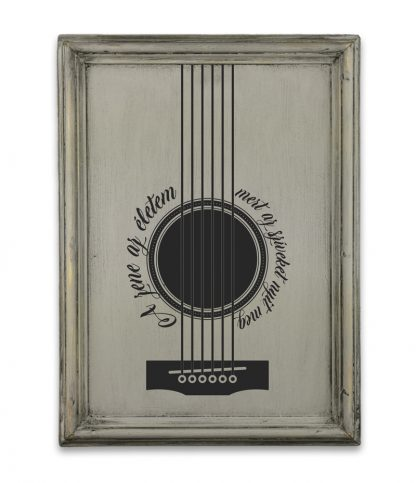 gitar plakat a zene az eletem vintage szurke