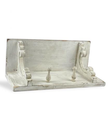 Vintage fehér polc - 2 akasztóval