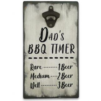 Vintage stílusú, fali sörnyitó – Dad's BBQ Timer-mitával
